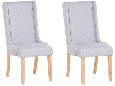 Set Of 2 Fabric Dining Chairs Light, Grey Fabric Dining Chairs With Arms