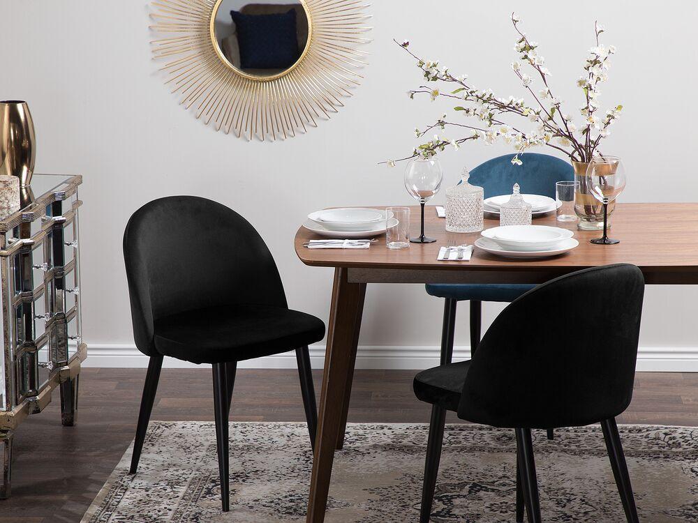 2 Velvet Dining Chairs Black Visalia, Black Velvet Dining Room Chairs