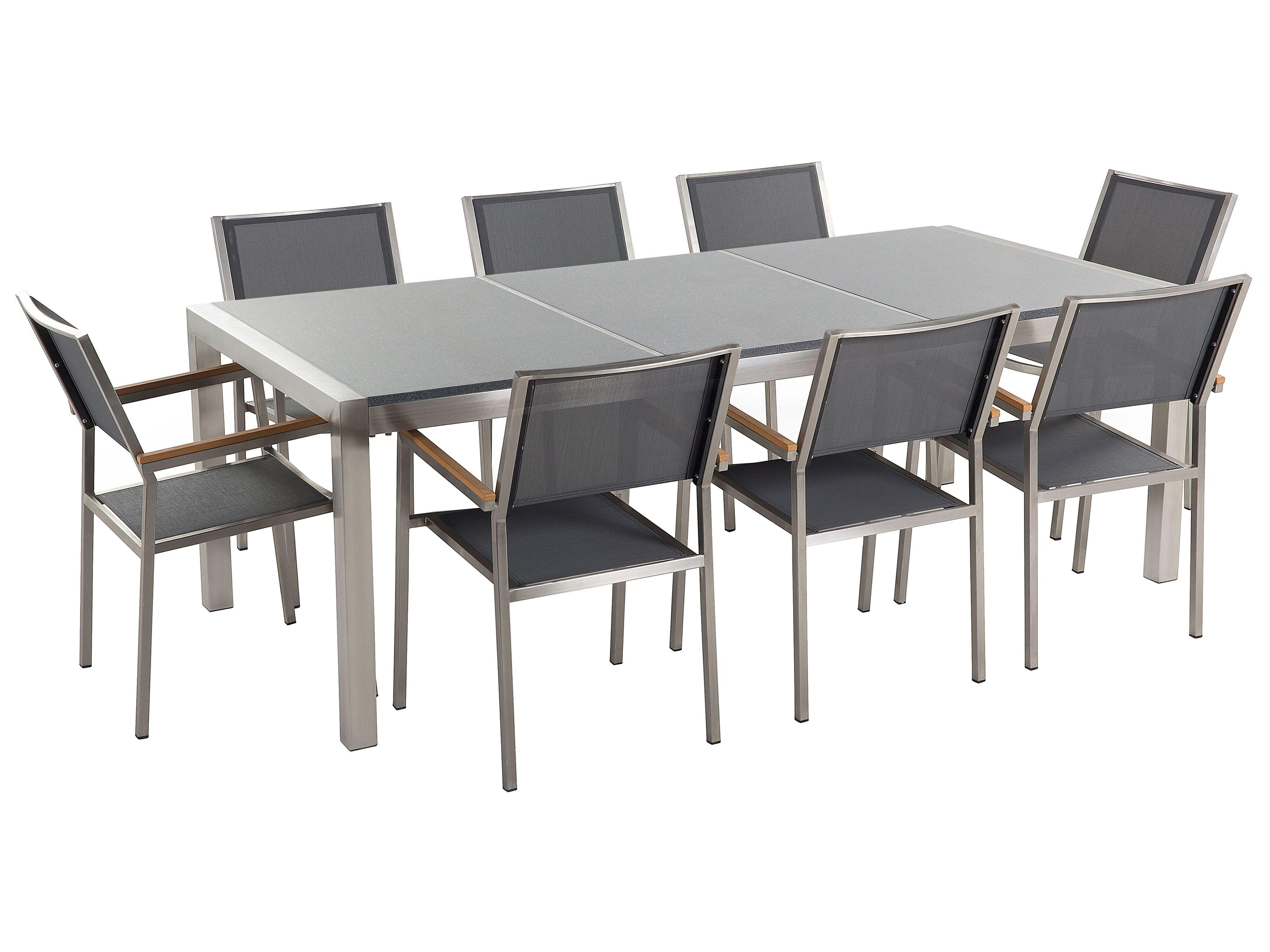 8 Seater Garden Dining Set Grey Granite Top And Grey Chairs Grosseto Beliani De
