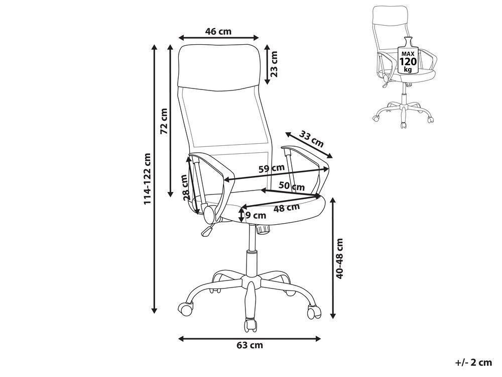 Sedia Da Ufficio Con Altezza Regolabile In Pelle Nera Design Beliani Ch