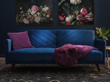 Velvet Fabric Sofa Bed Blue Senja Ex Factury At Fair Price Right To Return Within 100 Days