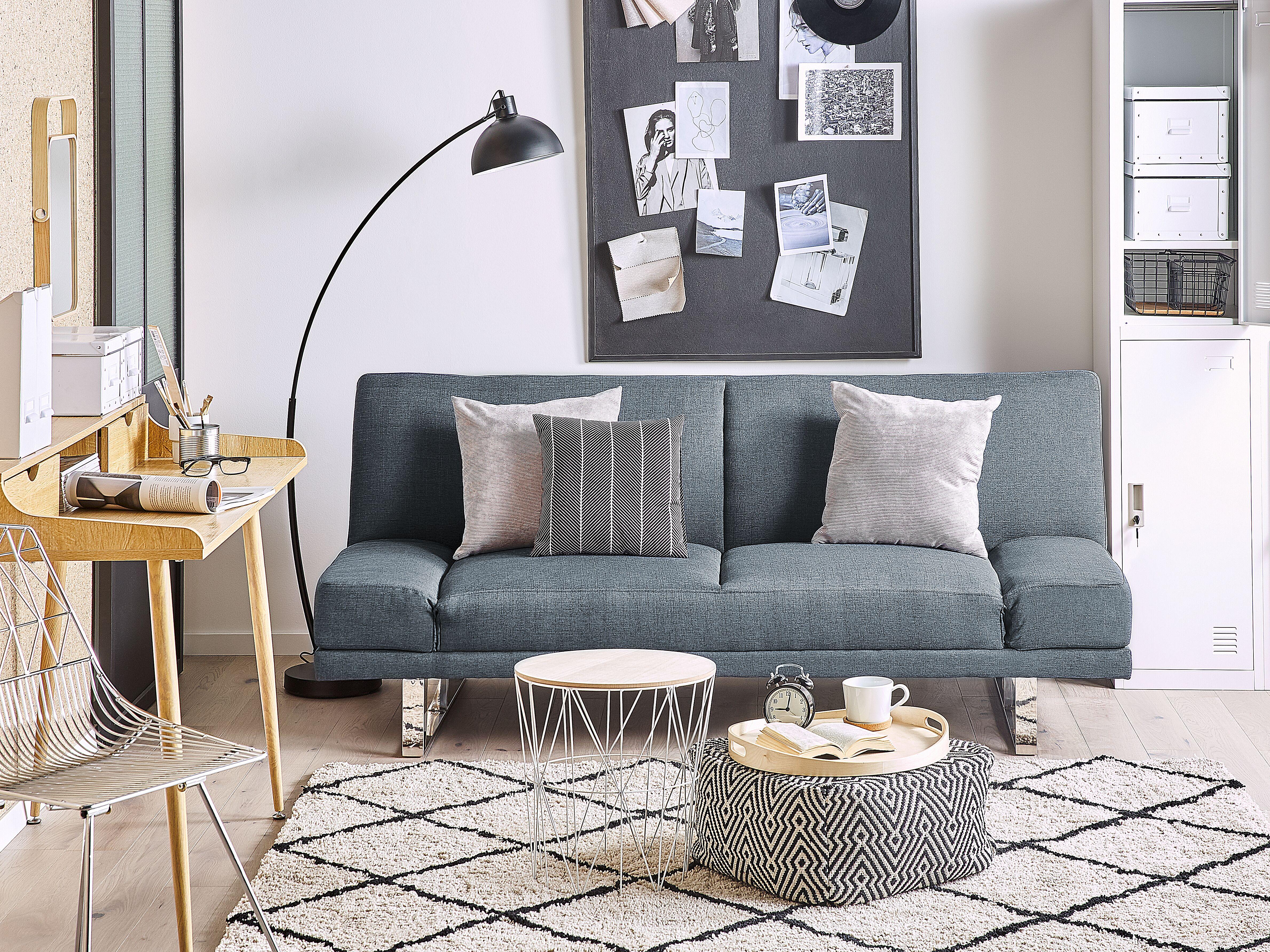Basics-Divano letto a 3 posti blu scuro 182 x 80 x 80 cm