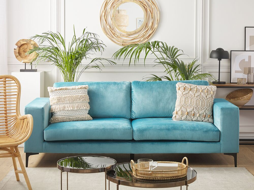 3 Seater Velvet Sofa Light Blue Vadstena Ex Factury At Fair Price Right To Return Within 100 Days