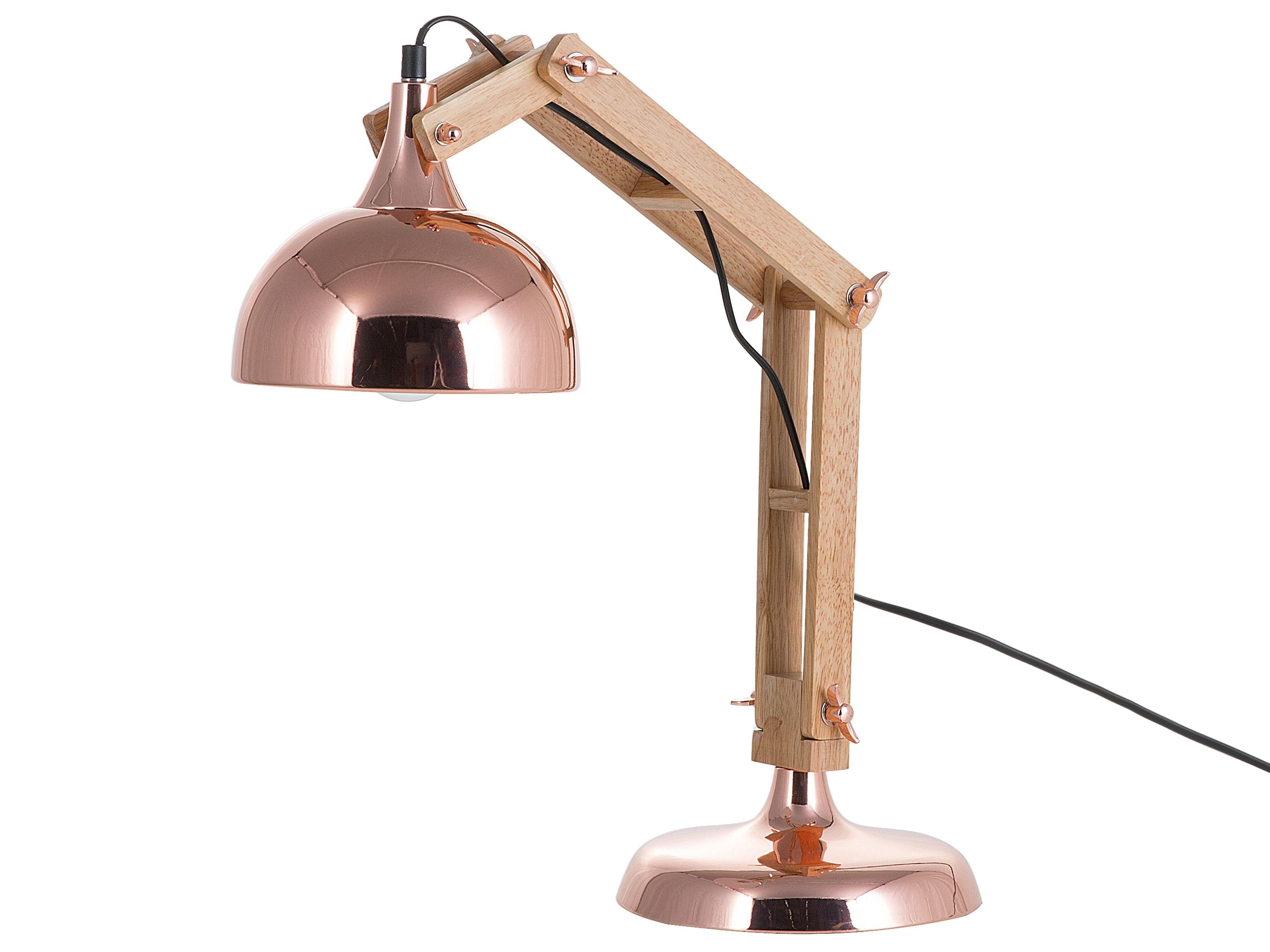 Lampada Da Tavolo In Legno E Metallo Rame Salado Beliani It