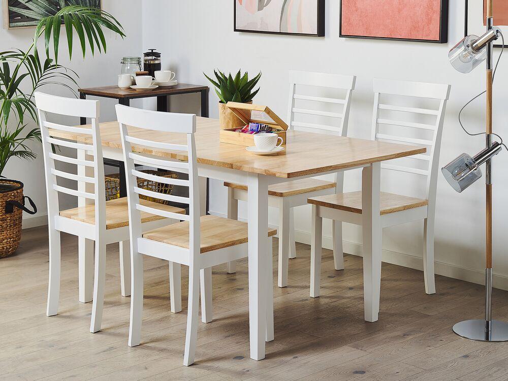 Tavolo Da Pranzo Allungabile In Legno Chiaro E Bianco 120 150 X 80 Cm Houston Beliani It