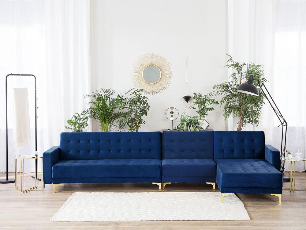 Left Hand Modular Velvet Sofa Navy Blue Aberdeen Beliani De