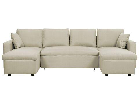 Fabric Corner Sofa Bed With Storage, Beige Sofa Bed With Storage