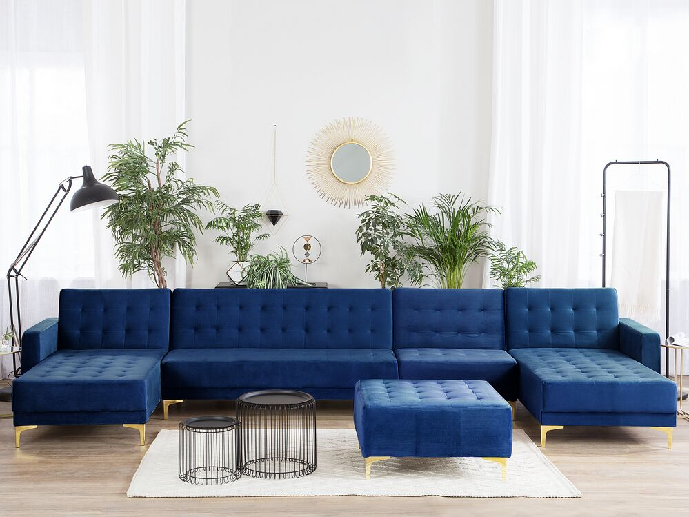 6 Seater U Shaped Modular Velvet Sofa With Ottoman Navy Blue Aberdeen Ex Factury At Fair Price Right To Return Within 100 Days