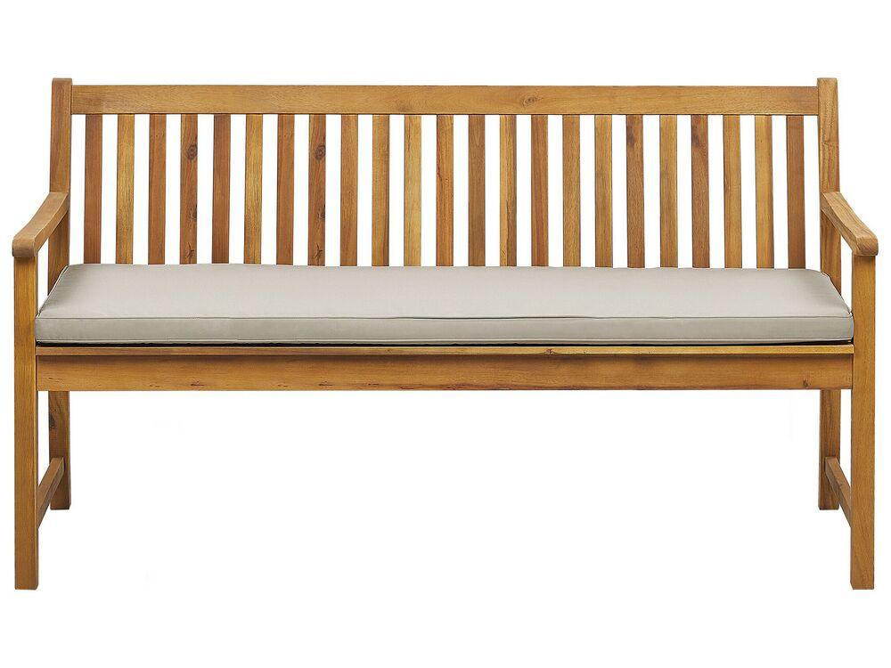 Gartenbank Zertifiziertes Holz Hellbraun 160 Cm Auflage Beige Vivara Beliani De