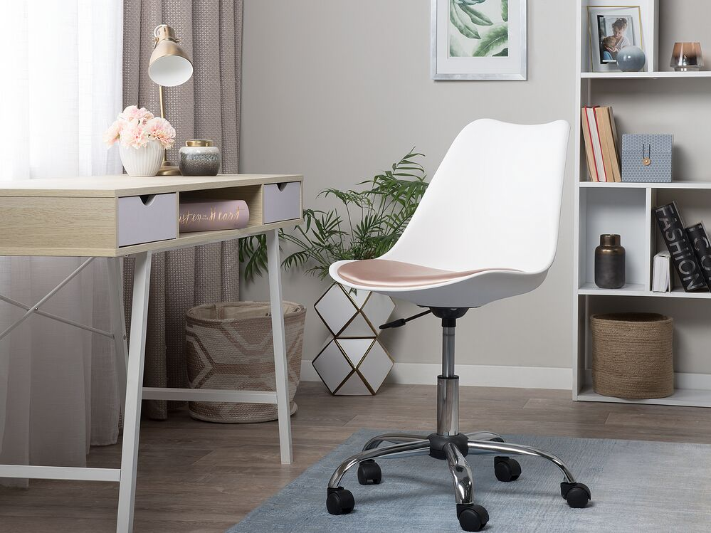 Armless Desk Chair White With Gold, White Computer Chairs Uk