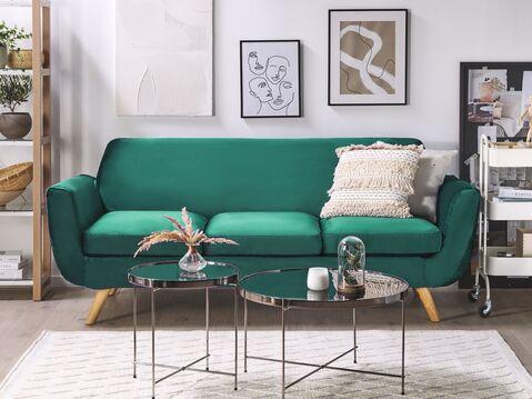 Velvet 3 Seater Sofa Cover Green Bernes, 3 Seater Sofa Covers