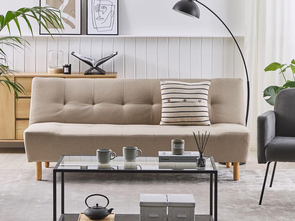 Fabric Sofa Bed Beige Alsten Beliani, Beige Sofa Bed Couch