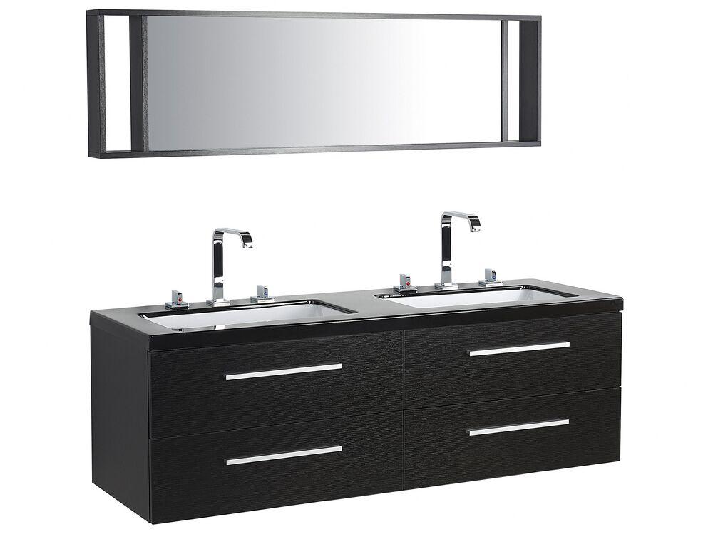 Bathroom Vanity With 4 Drawers Double Sink And Mirror Malaga Black Beliani De