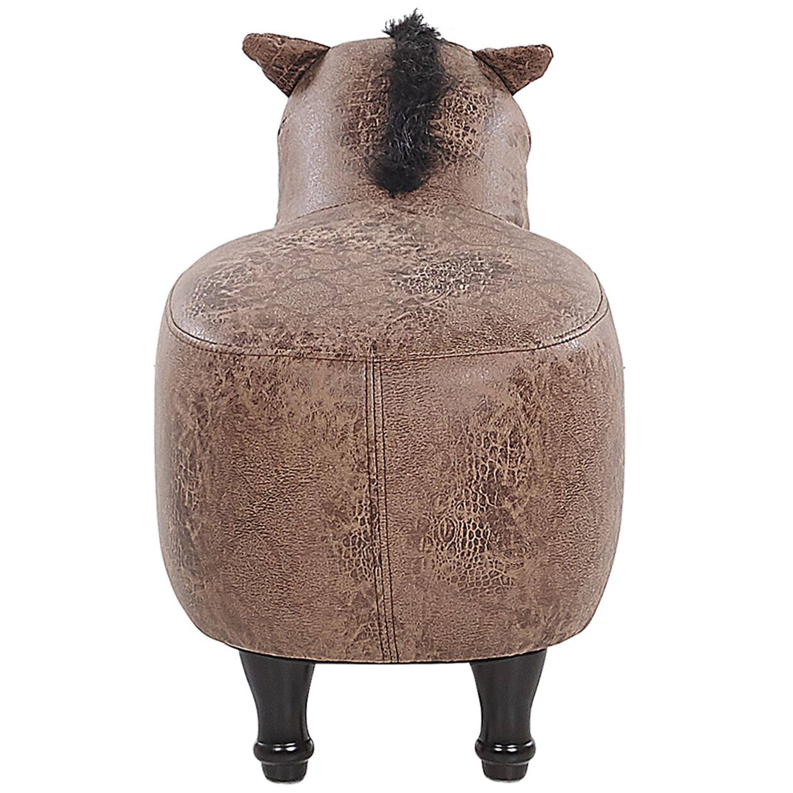 Tamborete animal em pele sintética castanho HORSE