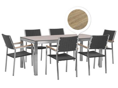 Gartenmobel Set Holzoptik 180 Cm 6 Sitzer Textilbespannung Grau Grosseto Beliani De