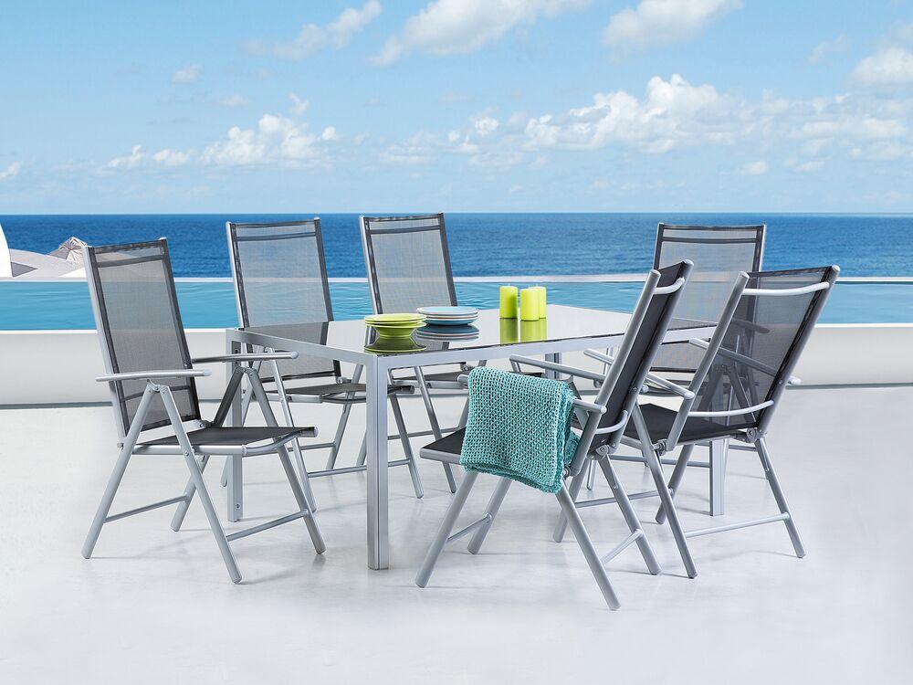 Gartenmobel Set Aluminium Schwarz 6 Sitzer Catania Beliani De