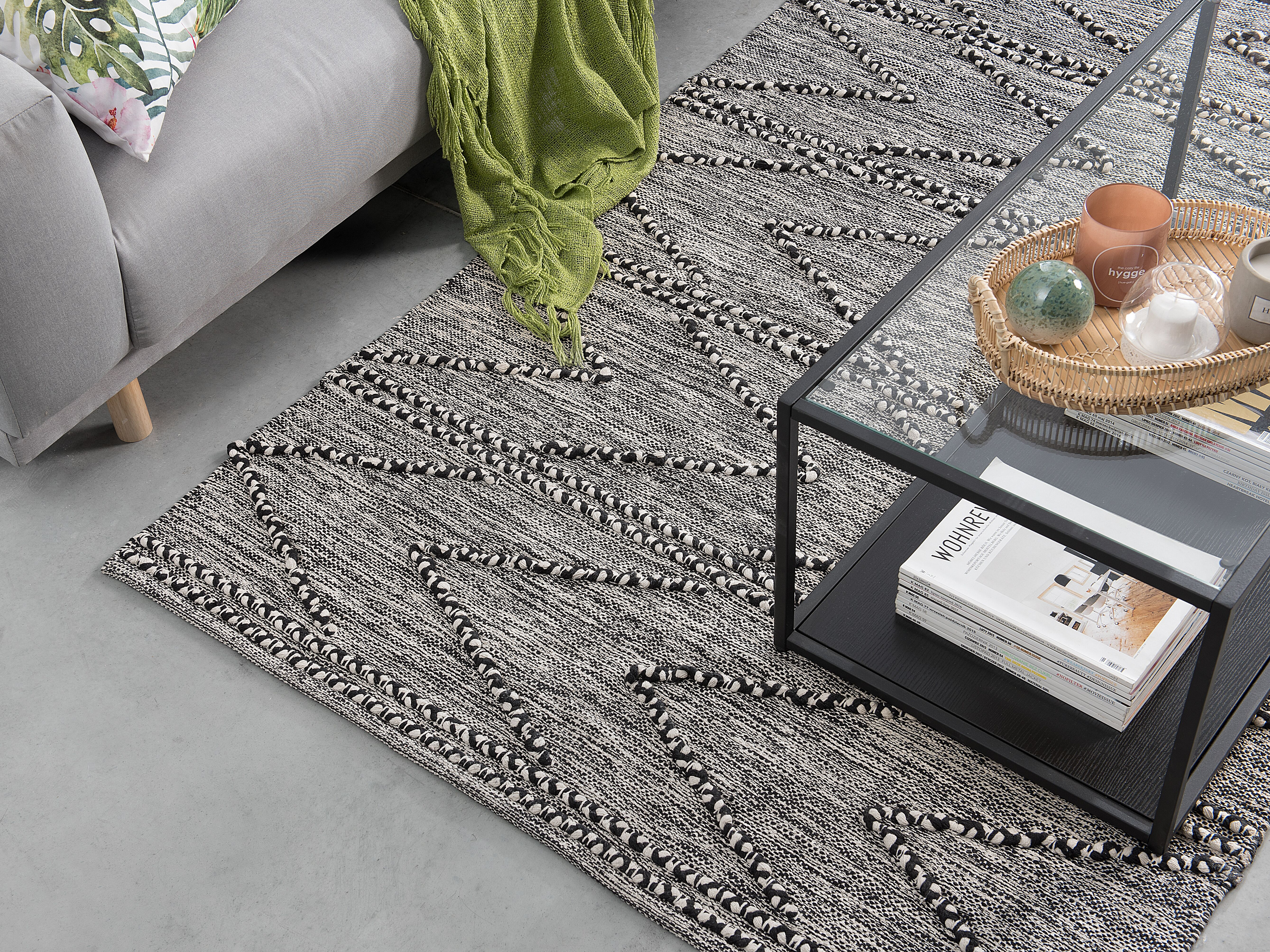 Cotton Area Rug 140 X 200 Cm Black And White Termal Beliani Co Uk