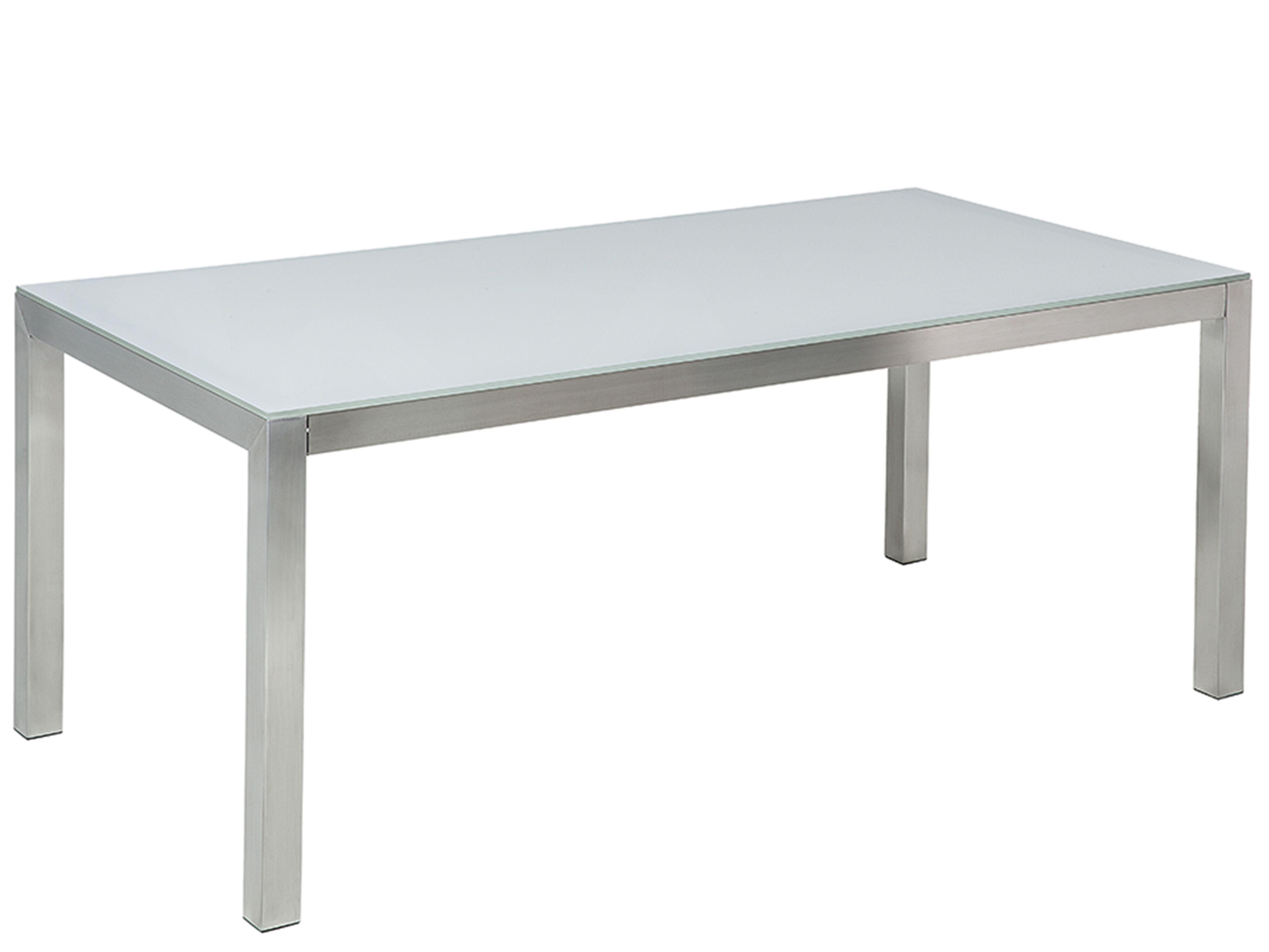 Garden Dining Table Glass Top 9 x 9 cm White GROSSETO   Beliani.de