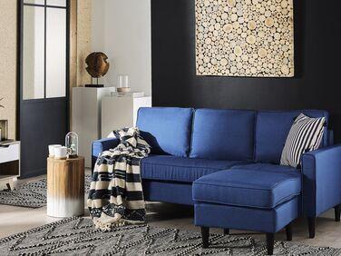 Fabric Sofa With Ottoman Navy Blue Avesta Beliani De