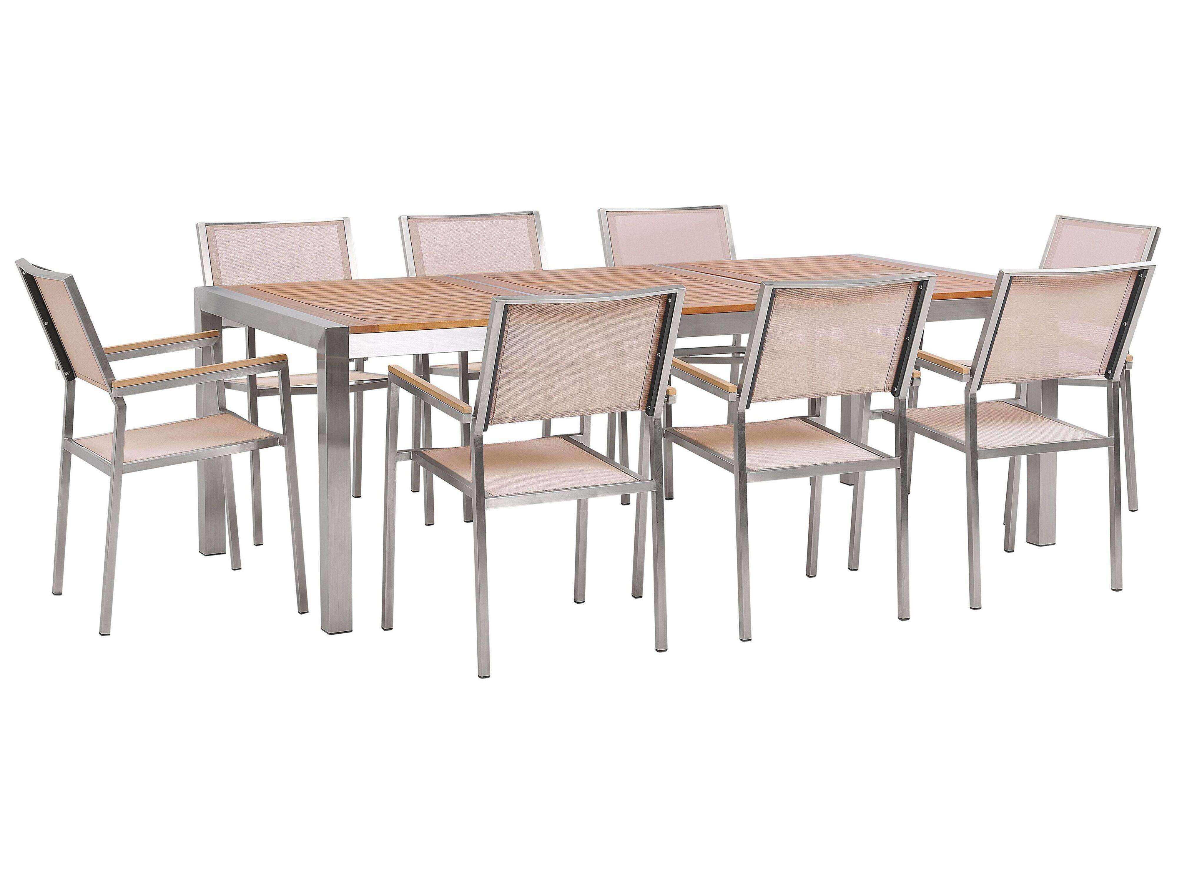 Gartenmobel Set Eukalyptusholz 220 Cm 8 Sitzer Textilbespannung Beige Grosseto Beliani De