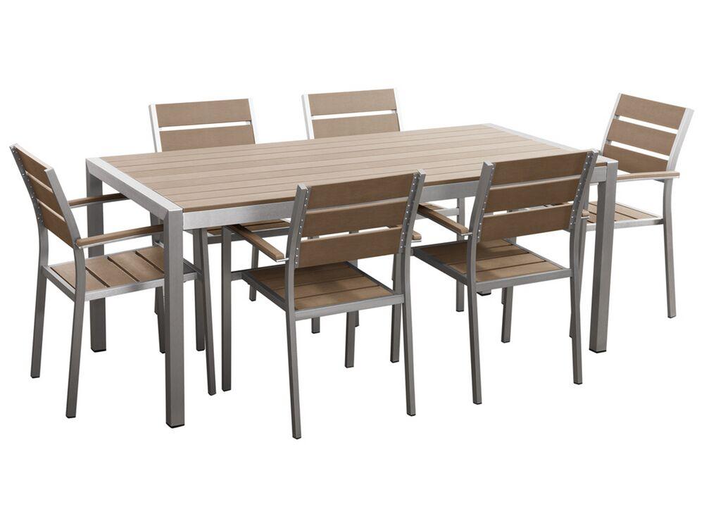 Set Di Tavolo E Sedie Da Giardino In Alluminio E Legno Sintetico Marrone Vernio Beliani It