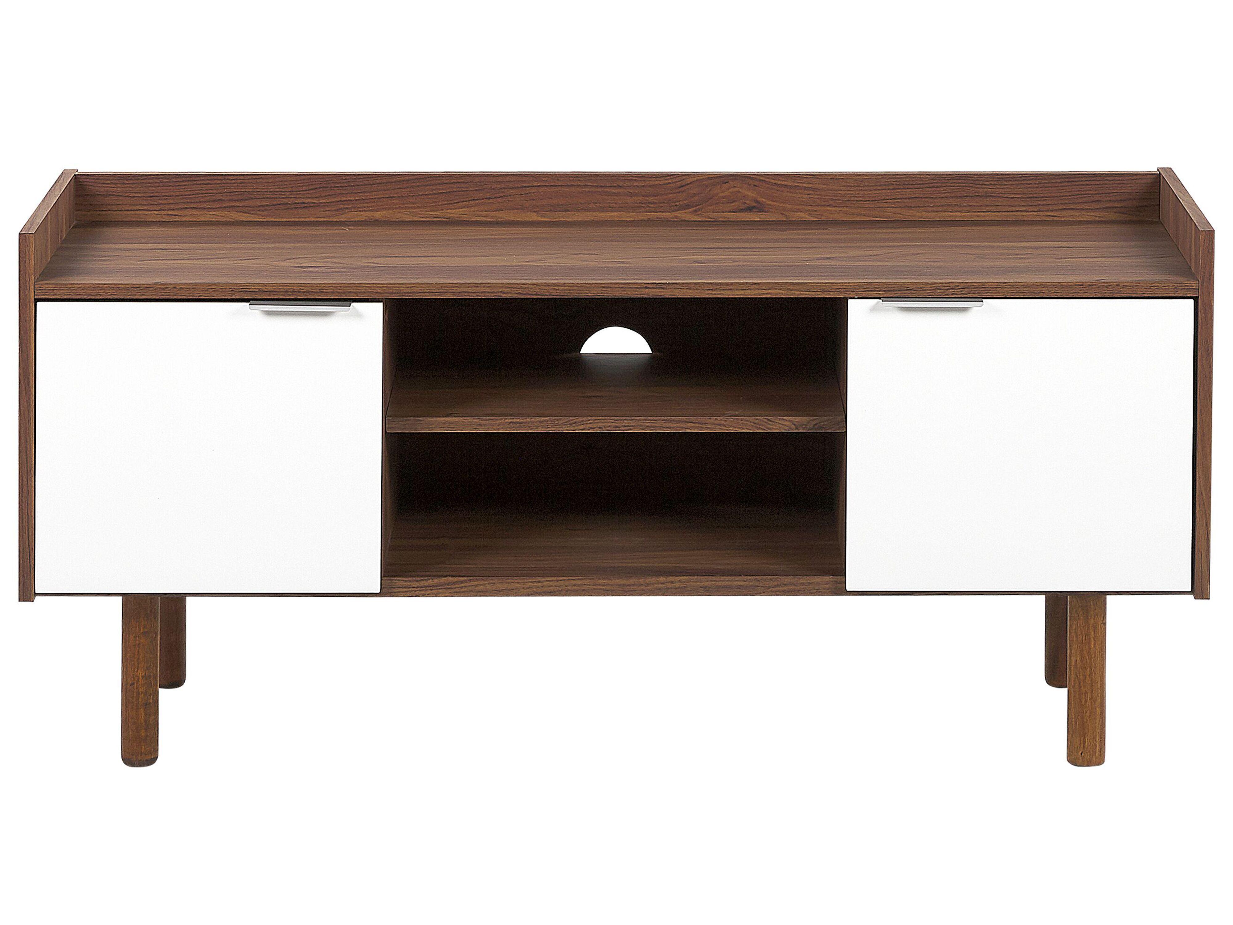 Mobile TV bianco e legno scuro MADERA | Beliani.it