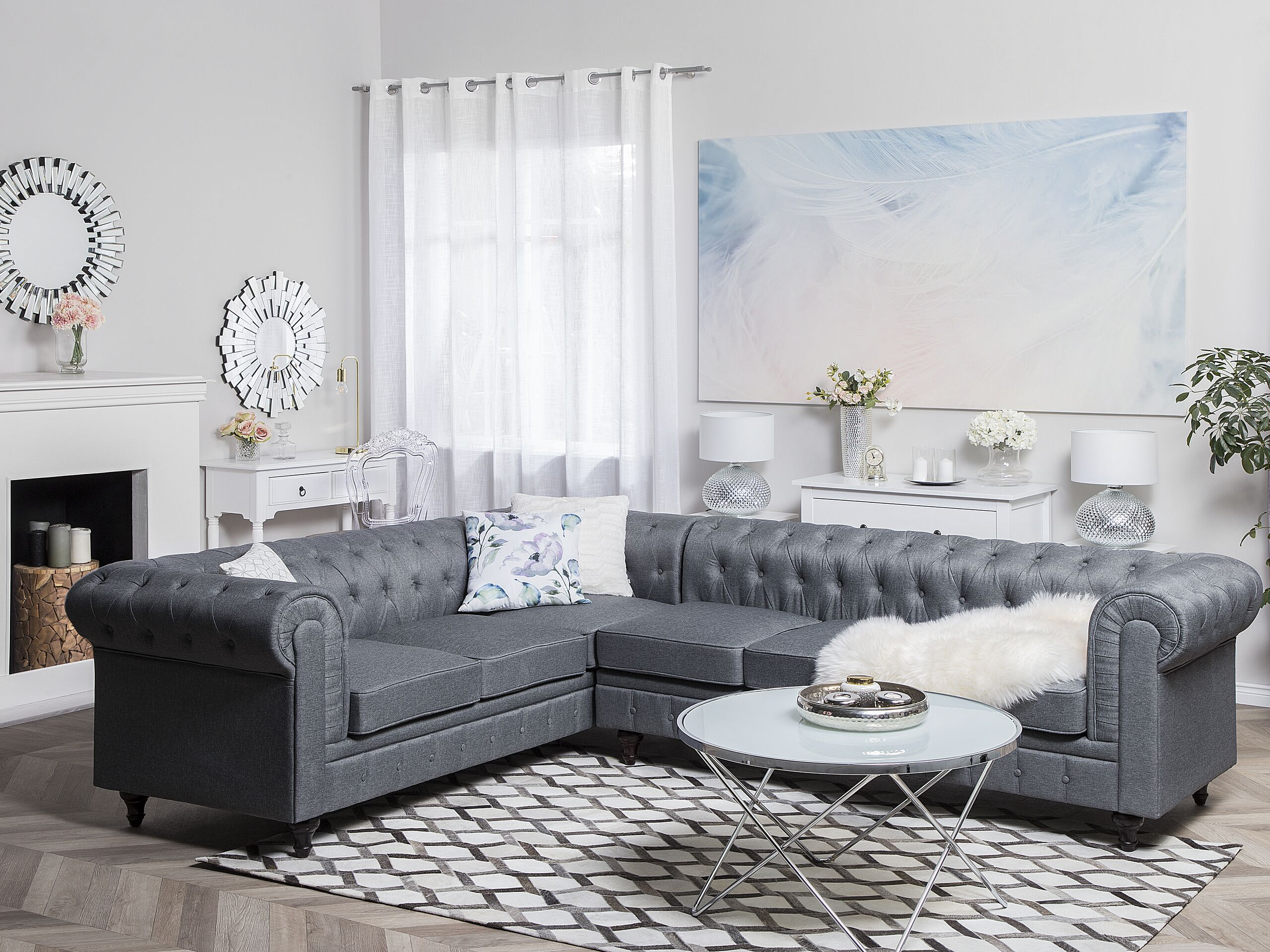 Marca do fabricante - Sofá de canto à direita com 3 lugares em tecido cinzento claro CHESTERFIELD