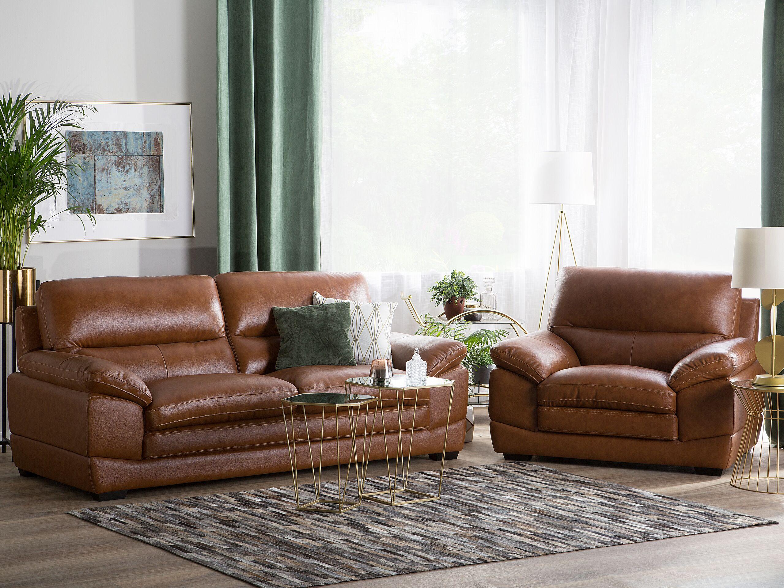 Marca do fabricante - Conjunto de sofás com 4 lugares em pele castanha dourada HORTEN