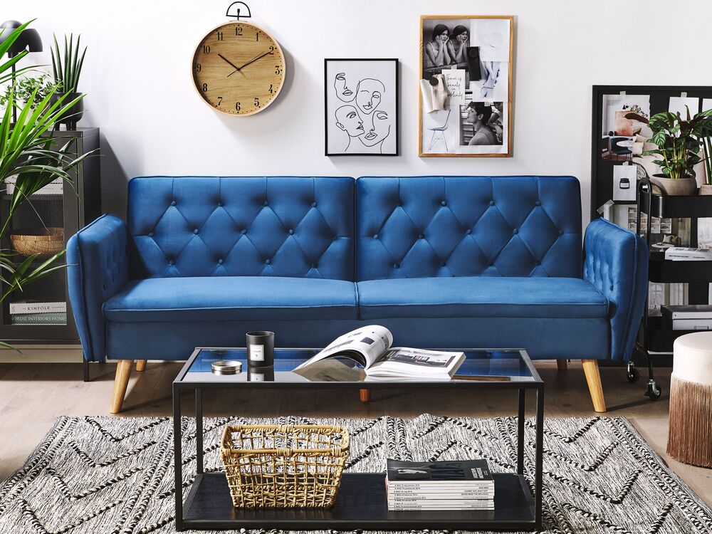 Velvet Sofa Bed Navy Blue Bardu Furniture Lamps Accessories Up To 70 Off Avandeo Online Store