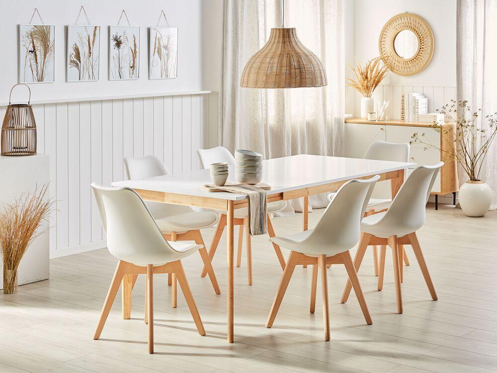Tavolo Da Pranzo Allungabile Bianco E Colore Legno Chiaro 140 180 X 90 Cm Sola Beliani It