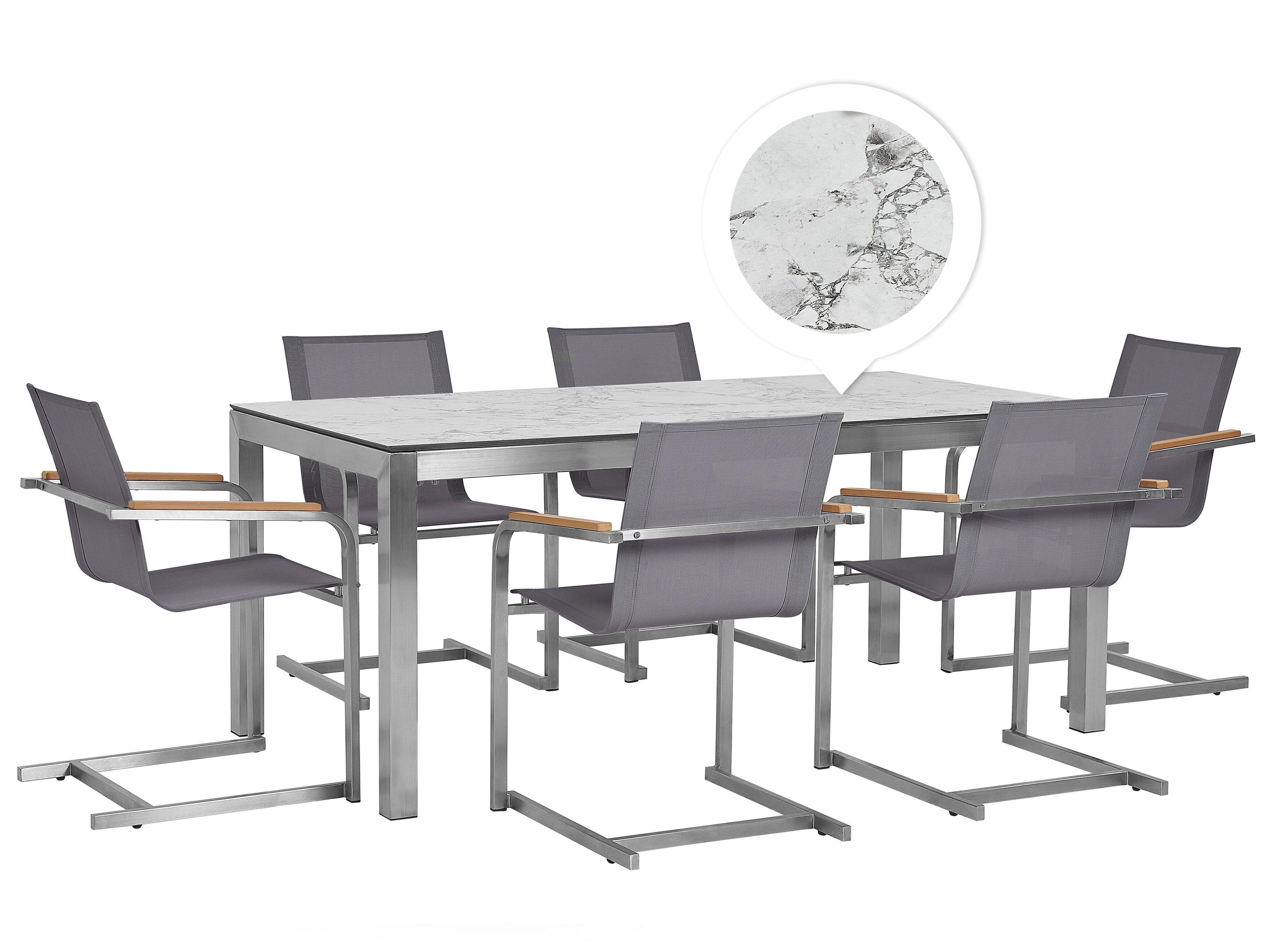 Gartenmobel Set Marmor Optik 180 Cm 6 Sitzer Textil Grau Grosseto Cosoleto Beliani De