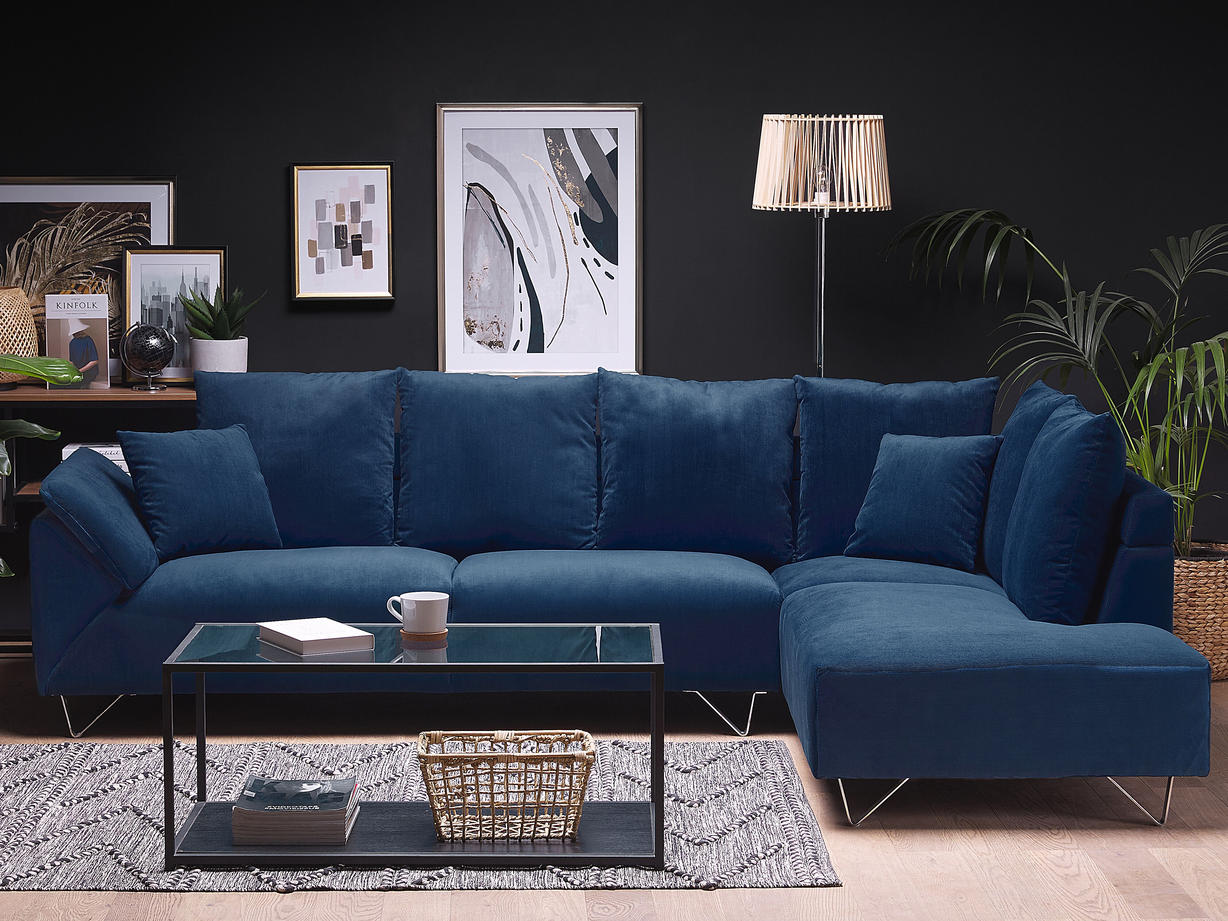 Left Hand Corduroy Corner Sofa Navy Blue Lunner Ex Factury At Fair Price Right To Return Within 100 Days