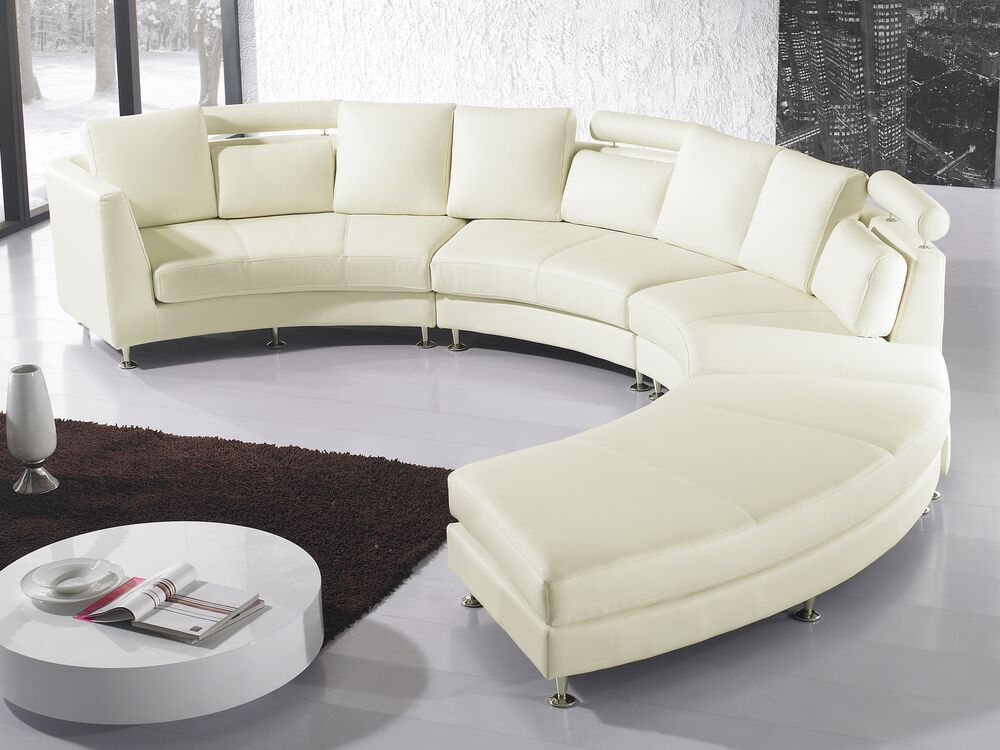 7 Seater Curved Leather Modular Sofa, Faux Leather Curved Sectional Sofa