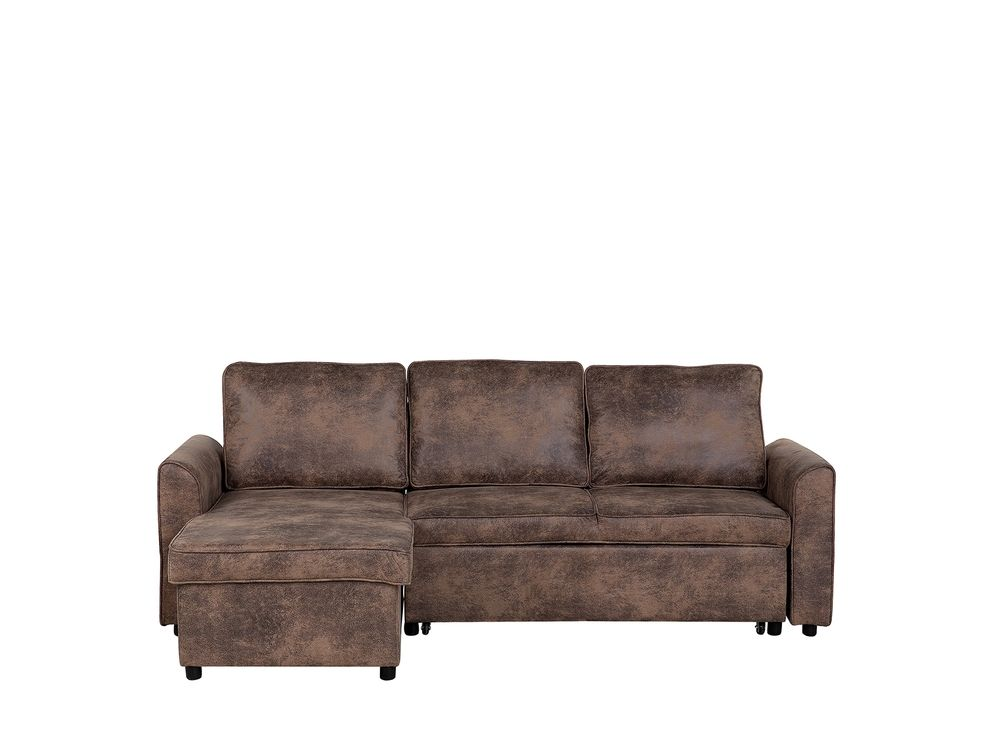Right Hand Faux Leather Corner Sofa Bed, Brown Fabric Leather Sofa Bed