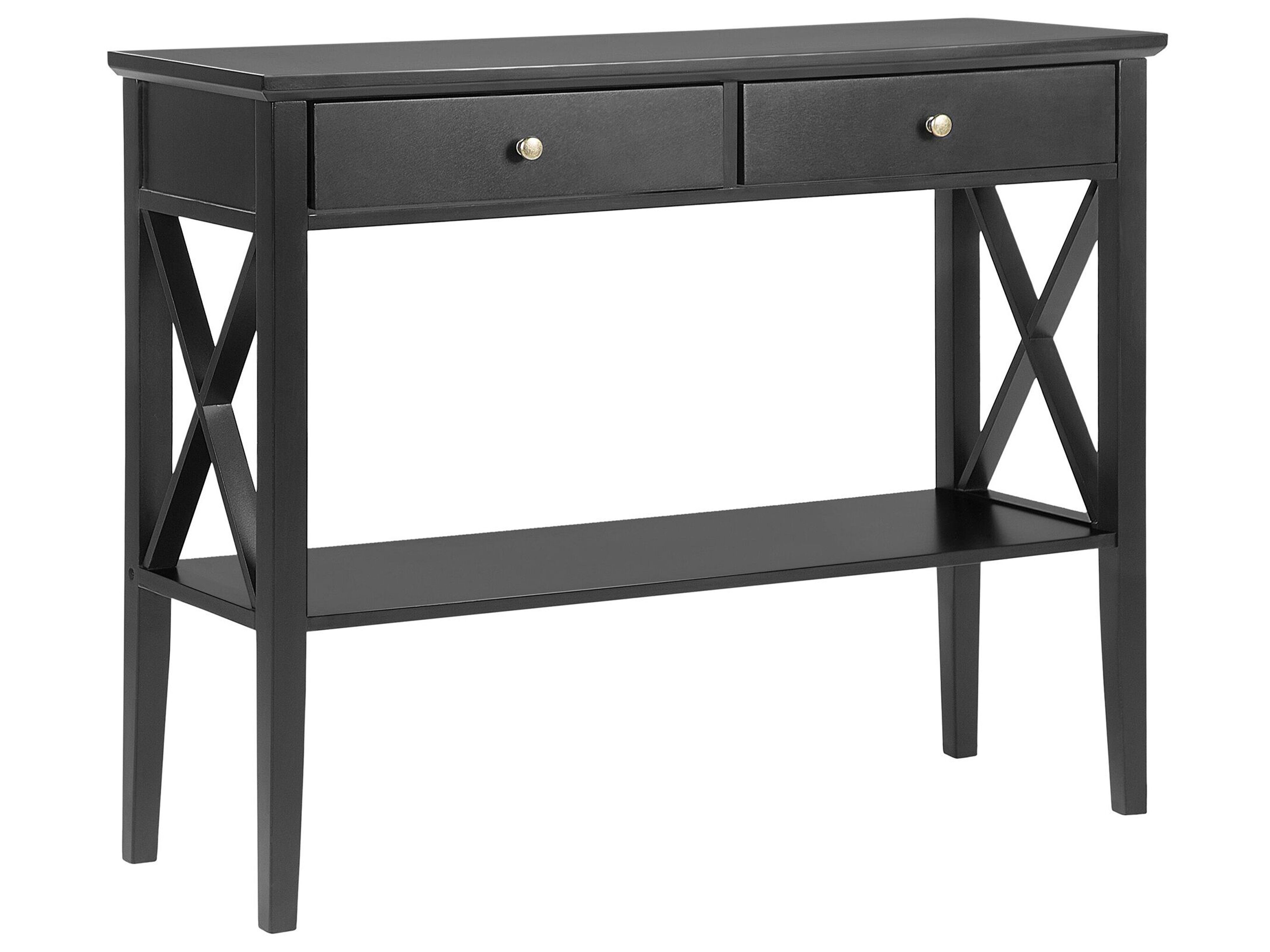 Tavolino Consolle Nero Con 2 Cassetti Avenue Beliani It