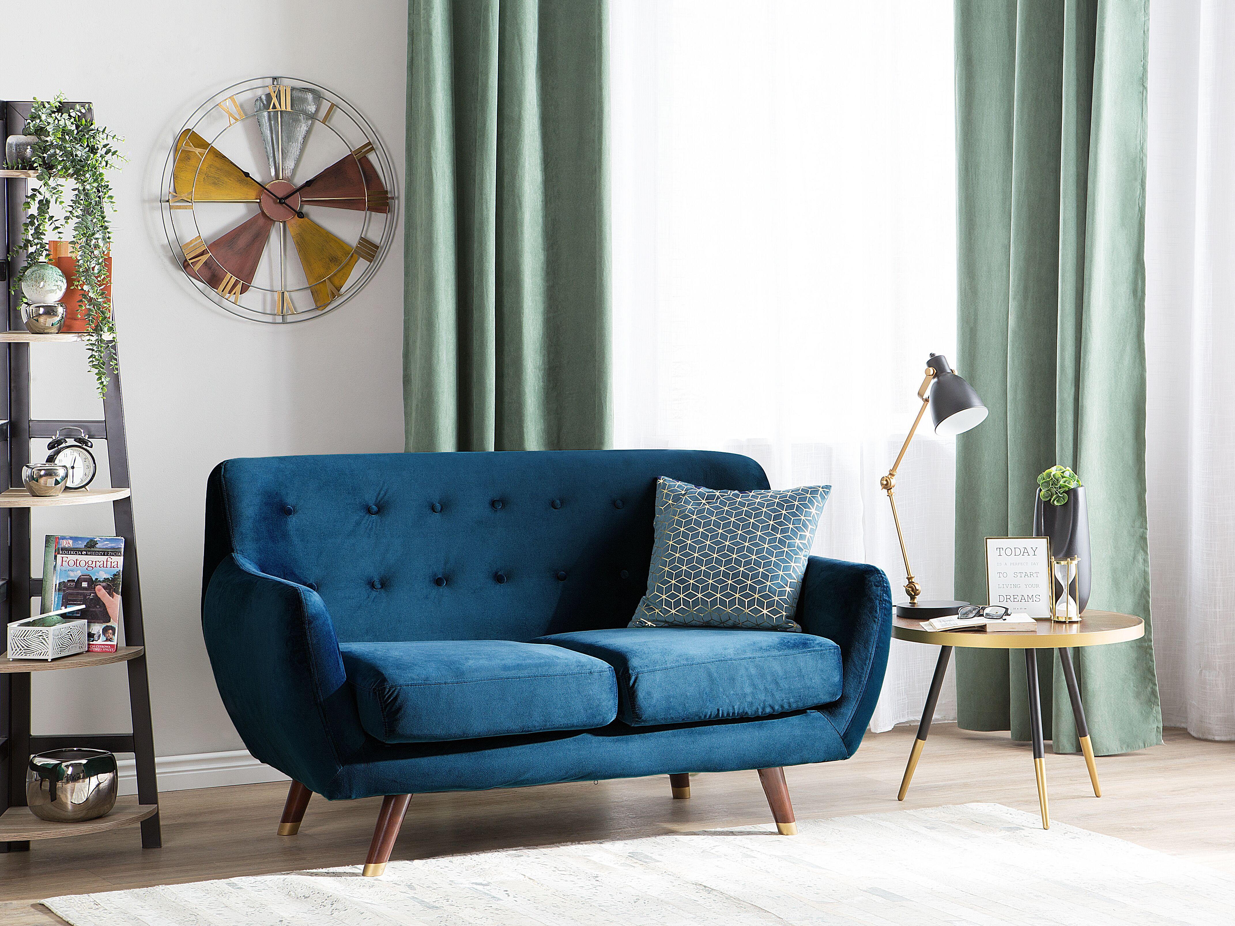 2 Seater Velvet Sofa Navy Blue Bodo Beliani Co Uk