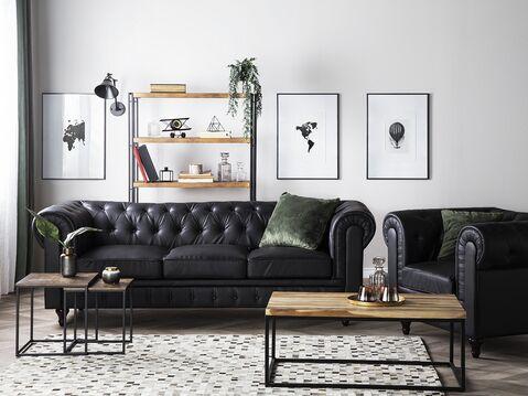 Faux Leather Living Room Set Black, Faux Leather Living Room Set