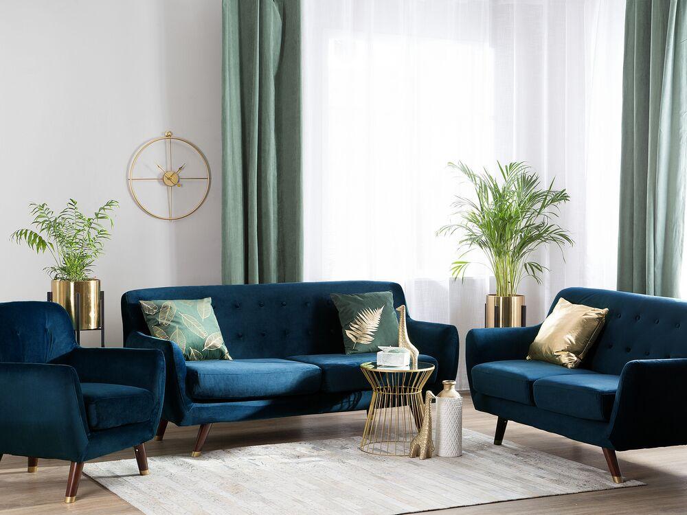 Velvet Living Room Set Navy Blue Bodo Beliani Co Uk