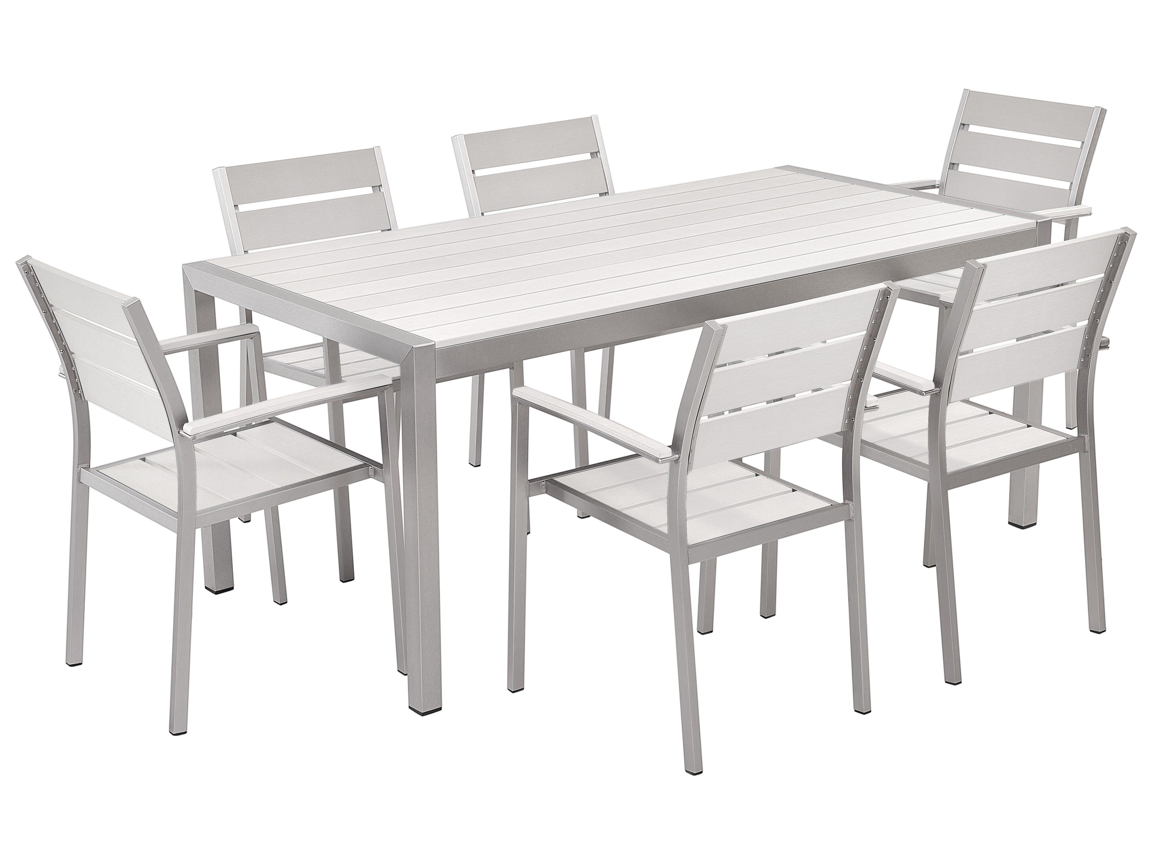 Gartenmobel Set Kunstholz Weiss 6 Sitzer Vernio Beliani De