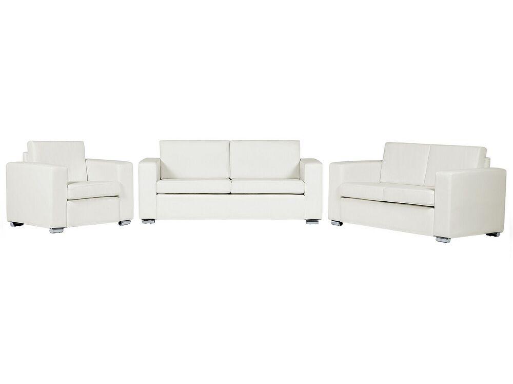 Leather Living Room Set White Helsinki, Leather Living Room Furniture