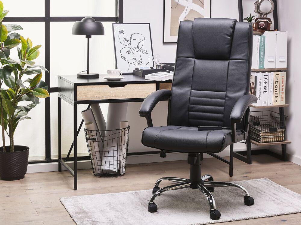 Poltrona Ufficio Pelle Nera Massaggiante E Riscaldante Comfort Beliani It