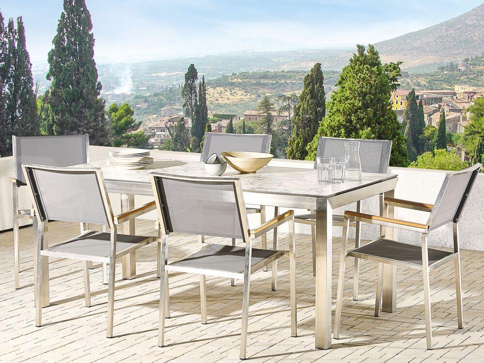 Gartenmobel Set Marmor Optik 180 Cm 6 Sitzer Textilbespannung Grau Grosseto Beliani De