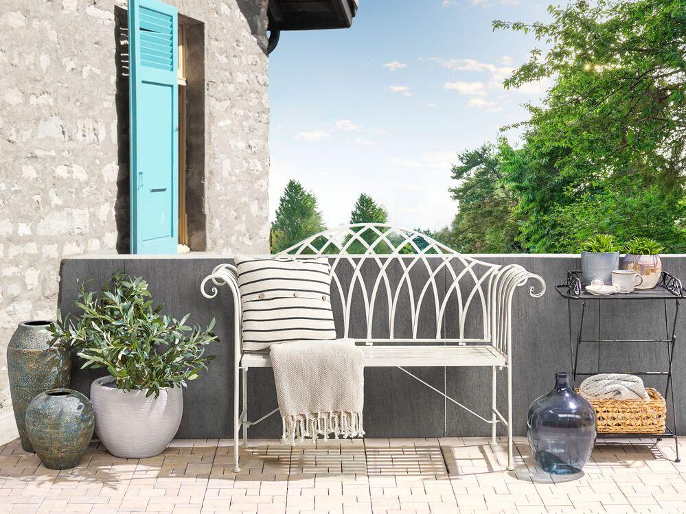 Metal Garden Bench 130 Cm White Milazzo, White Metal Garden Bench