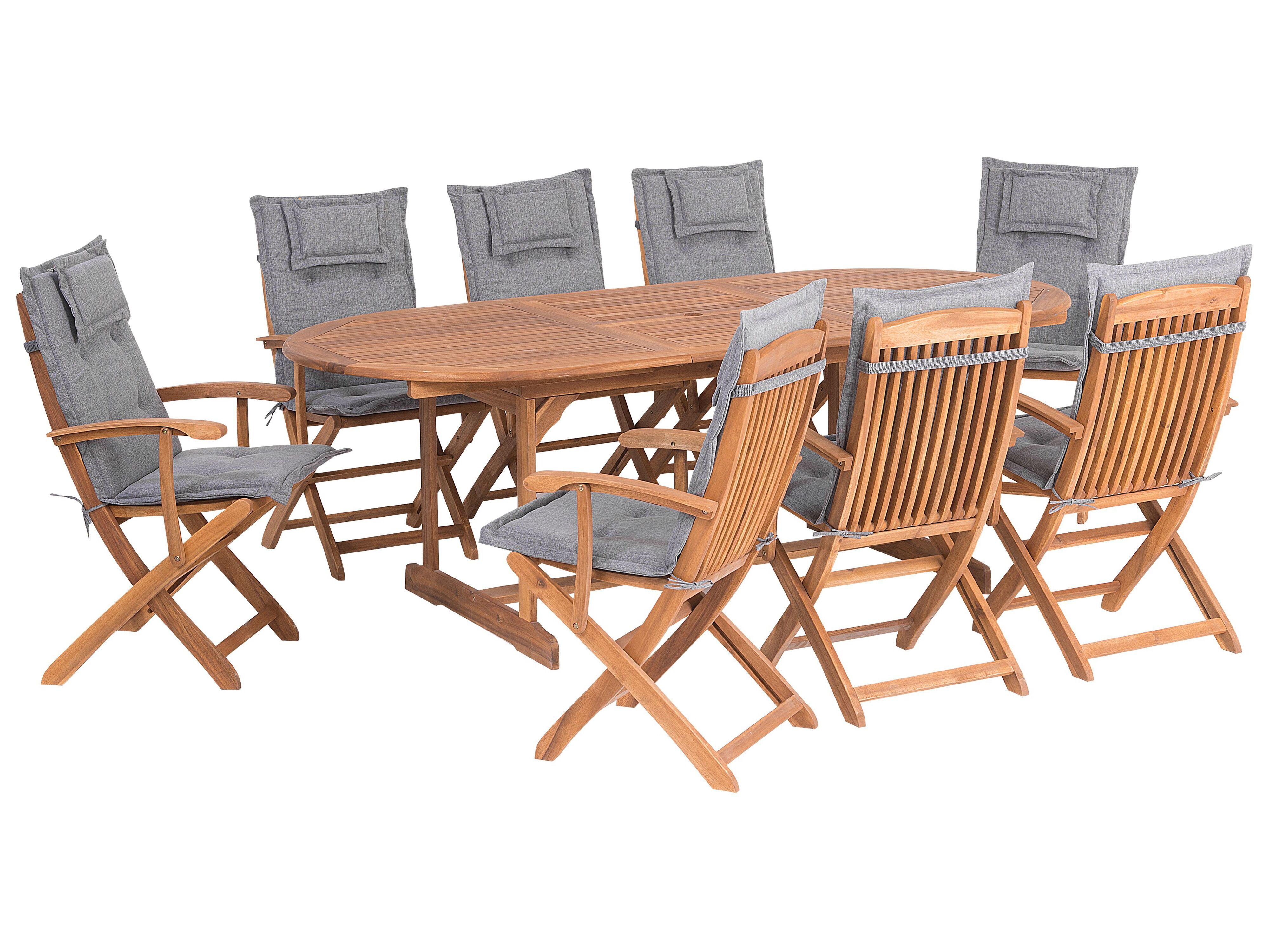 Set Da Giardino Di Un Tavolo E 8 Sedie Con Cuscini Grigi Maui Beliani It