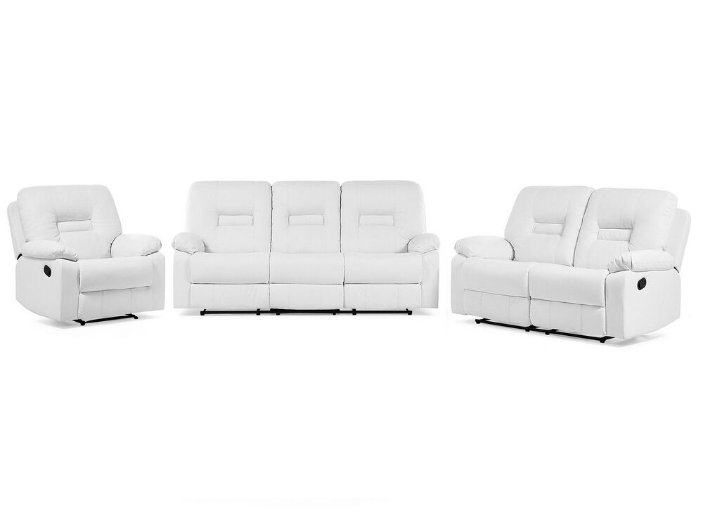 Faux Leather Living Room Set White, Leather Living Room Furniture