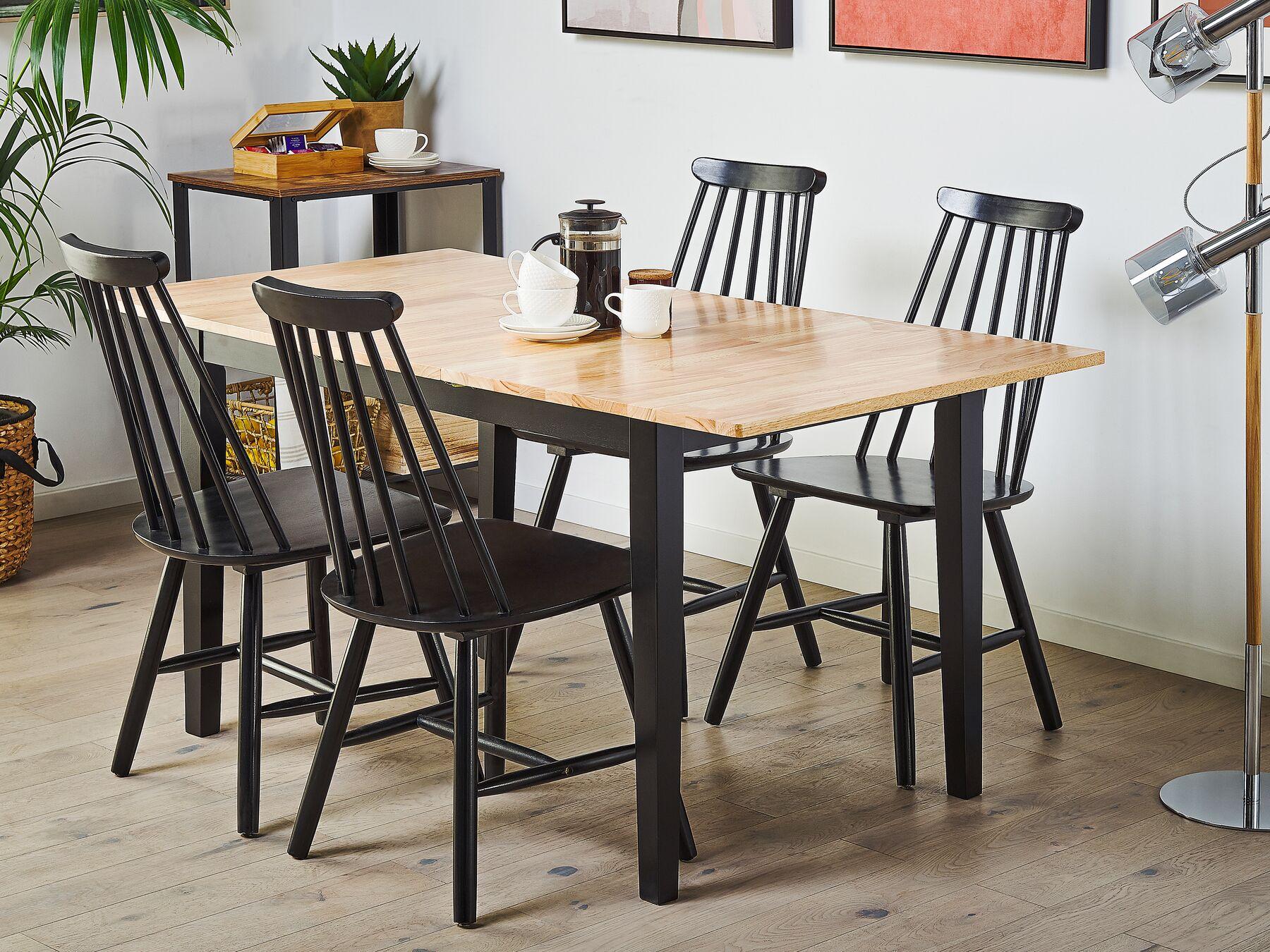 Tavolo da pranzo allungabile in legno chiaro e nero 120 ...