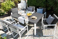 Gartenmobel Set Aluminium Dunkelgrau 8 Sitzer Pancole Beliani De