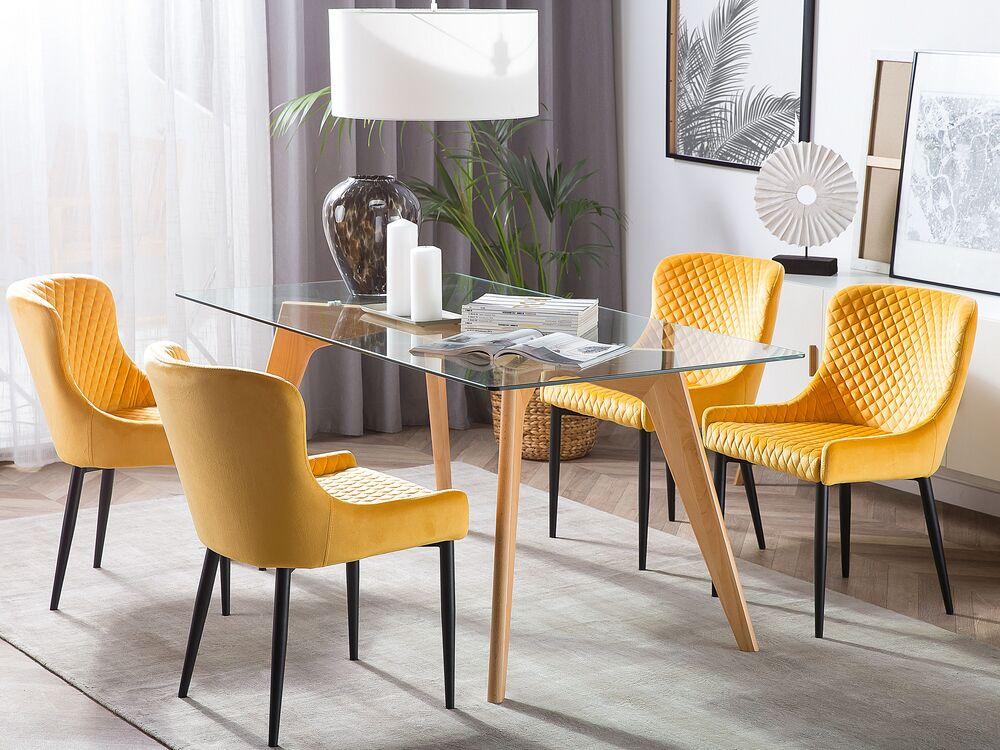 Tavolo Da Pranzo In Legno Di Faggio E Piano In Vetro 180x90cm Hudson Beliani Ch