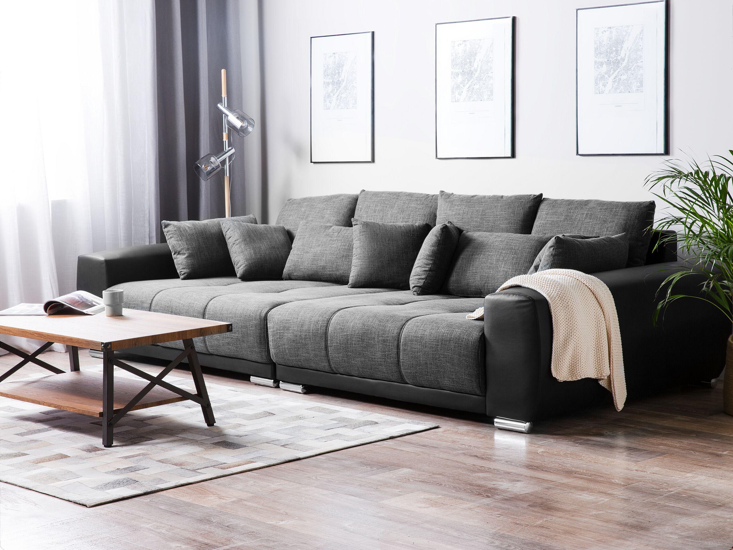 Marca do fabricante - Sofá XL em tecido cinzento escuro TORPO