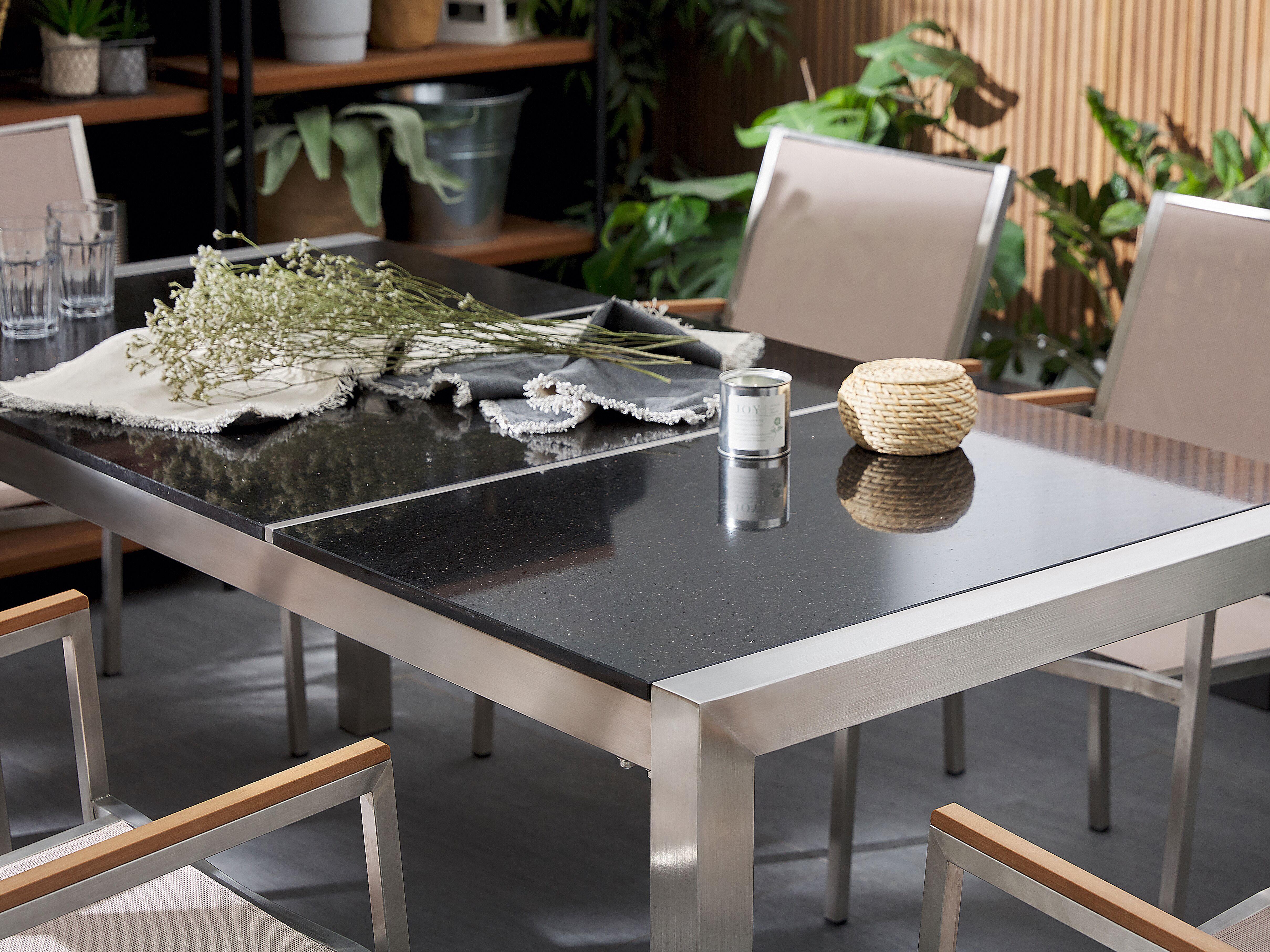 Gartenset GROSSETO 9 triple schwarz poliert+Textil CH